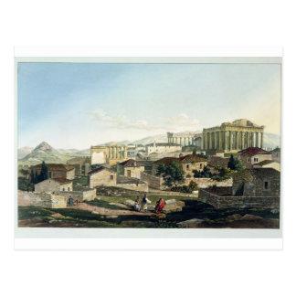Cartão Postal A parte dianteira ocidental do Partenon, chapeia
