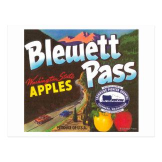 Cartão Postal A passagem Apple de Blewett etiqueta - a caxemira,