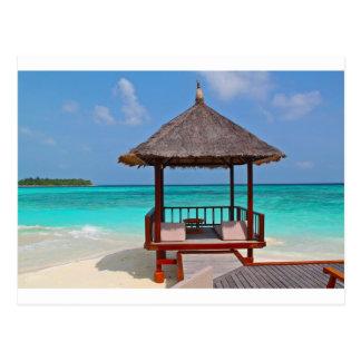 Cartão Postal a paz tropical do paraíso da cabana da praia