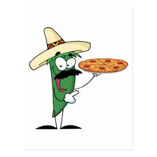 Cartão Postal A pimenta do Chile do Sombrero sustenta a pizza