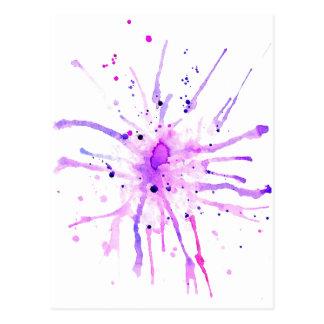 Cartão Postal A pintura do Grunge Splatters o roxo