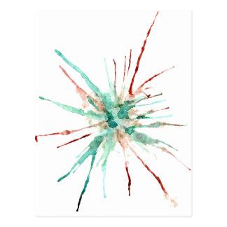 Cartão Postal A pintura do Grunge Splatters o verde