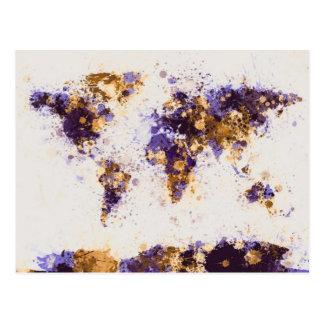 Cartão Postal A pintura do mapa do mundo espirra
