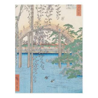 Cartão Postal A ponte com glicínias ou Kameido Tenjin