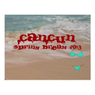 Cartão Postal A praia 2013 das férias da primavera de Cancun
