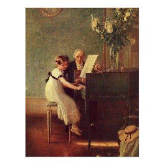 Cartão Postal A primeira lição de piano por Muenier