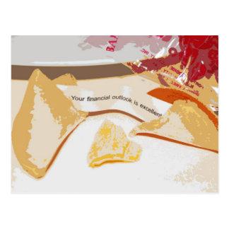 """Cartão Postal """"A probabilidade financeira é"""" biscoito de fortuna"""