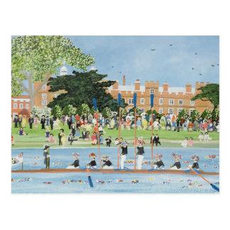 Cartão Postal A procissão dos barcos na faculdade de Eton