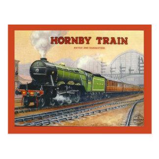 Cartão Postal A propaganda do vintage, trem de Hornby, miniatura