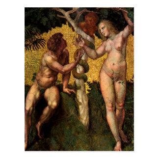 Cartão Postal A queda - Adam e véspera por Raphael Sanzio