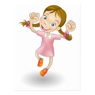 Cartão Postal A rapariga que salta para a alegria