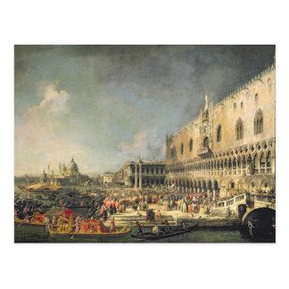 Cartão Postal A recepção do embaixador francês em Veneza,