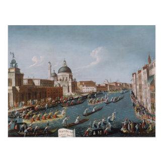 Cartão Postal A regata das mulheres no canal grande, Veneza