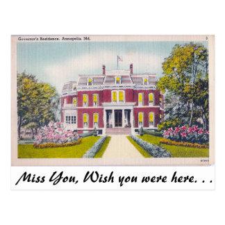 Cartão Postal A residência do governador, Annapolis, Maryland