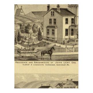 Cartão Postal A residência e a estufa de John emprestaram