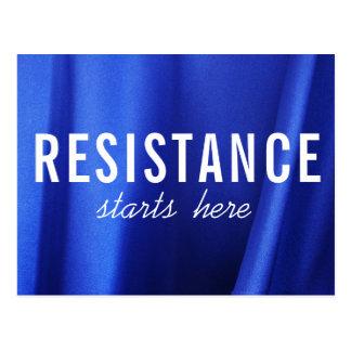 Cartão Postal A resistência começa aqui na foto azul do abstrato