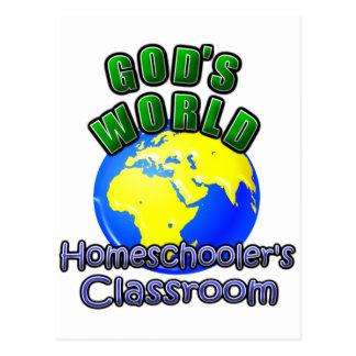 Cartão Postal A sala de aula de Homeschooer do mundo do deus