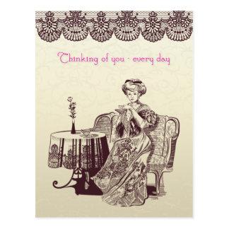 Cartão Postal a senhora bebe o chá