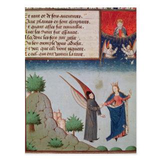 Cartão Postal A senhora Filosofia conduz Boethius em vôo