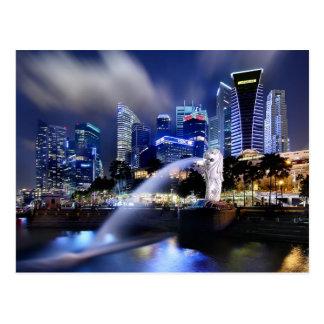 Cartão Postal A skyline de Merlion e de Singapore