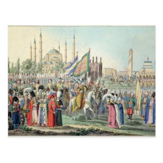 Cartão Postal A sultão turca que revê seus Janissaries (engr