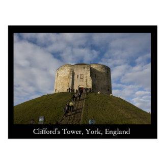 Cartão Postal A torre de Clifford, York, Inglaterra