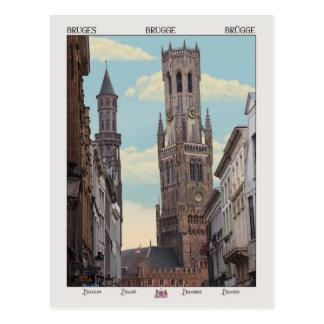 Cartão Postal A torre de sino em Bruges