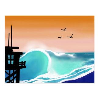 Cartão Postal A torre e o surf da praia