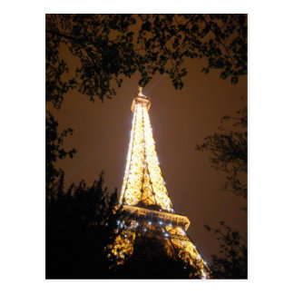Cartão Postal A torre Eiffel na noite, Paris France