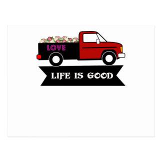Cartão Postal A vida é boa, floresce o caminhão, presente para o