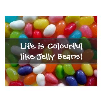 Cartão Postal A vida é colorida como feijões de geléia