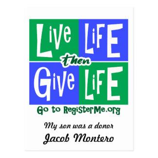Cartão Postal A vida viva dá então o doador da vida
