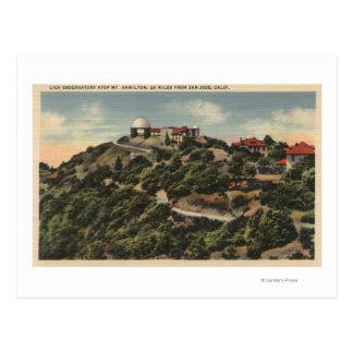 Cartão Postal A vista de lambe o obervatório em Mt. Hamilton