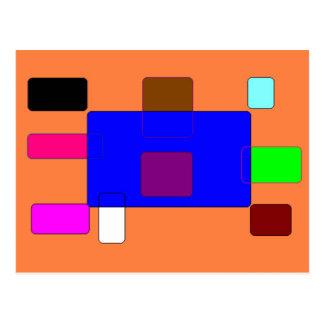Cartão Postal Aba - arte abstracta colorida no fundo alaranjado