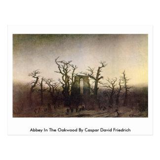 Cartão Postal Abadia na madeira de carvalho por Caspar David