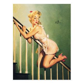 Cartão Postal Abaixo das escadas - menina Pin-acima retro