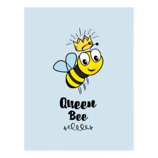 Cartão Postal Abelha de rainha bonito com coroa