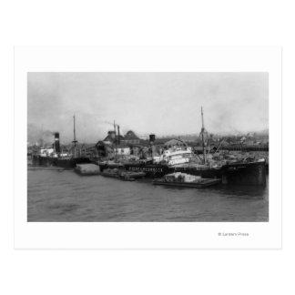 Cartão Postal Aberdeen, WA - ideia do beira-rio e do transporte