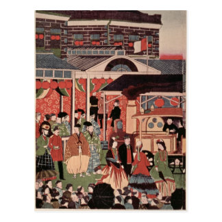 Cartão Postal Abertura da primeira estrada de ferro em Japão