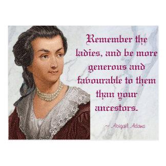 Cartão Postal Abigail Adams - recorde as senhoras