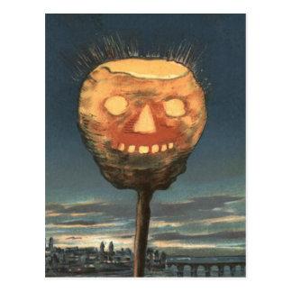 Cartão Postal Abóbora brilhante assustador da lanterna de Jack O
