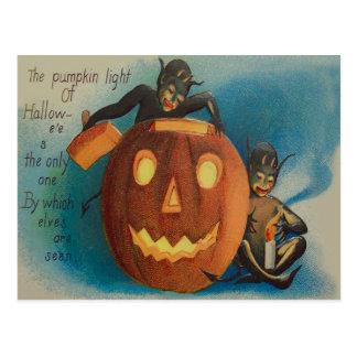 Cartão Postal Abóbora da lanterna de Jack O da vela dos