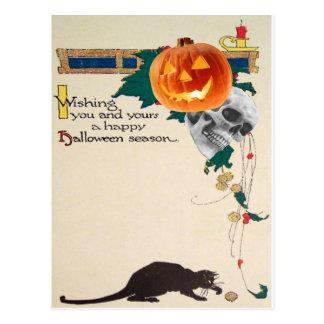 Cartão Postal Abóbora da lanterna de Jack O do crânio do gato