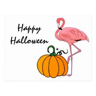 Cartão Postal Abóbora do Dia das Bruxas do flamingo