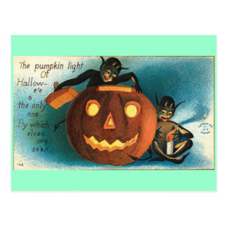 Cartão Postal Abóbora do vintage do diabrete de Gremlin