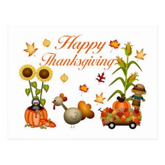 Cartão Postal Abóbora & Turquia felizes das folhas de outono da
