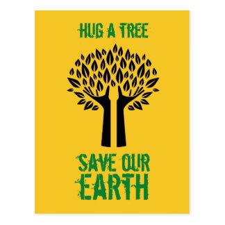 Cartão Postal Abrace umas economias da árvore nossa terra