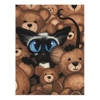 Cartão Postal Abraço de urso do ursinho do gato Siamese por