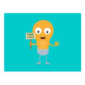 Cartão Postal abraços livres Zggq6 feliz da ampola