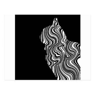 Cartão Postal Abstract Black and White Cat Swirl Monochroom